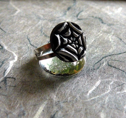 Spider Web Ring on Silver Adjustable Band
