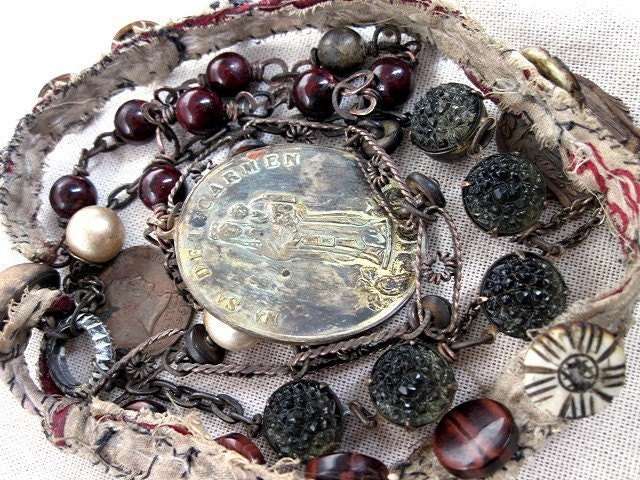 Jesus in the Koran.  Antique Assemblage Neckpiece.