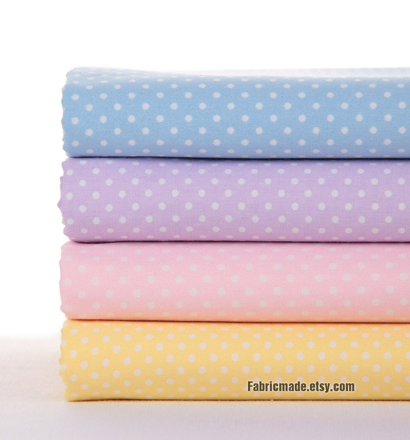 "Pastel Fabric with White Polka Dot Cotton Fabric Light Blue Purple Pink Yellow Dots Fabric-  Fabric by Yard 1/2 yard 18'X45"" - fabricmade"