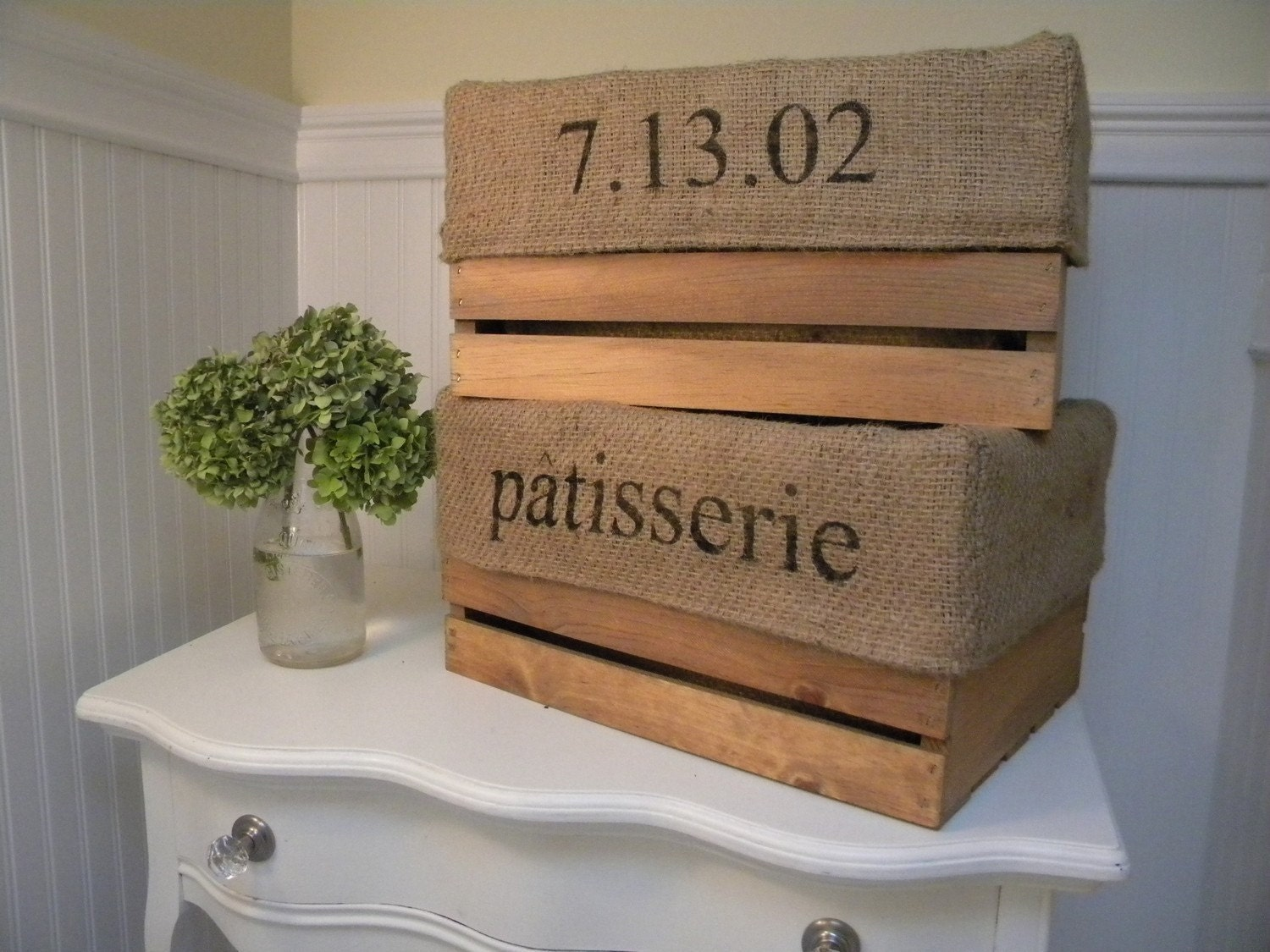 Customizable Personalized Farmhouse Shabby Chic Burlap Lined Storage Crate