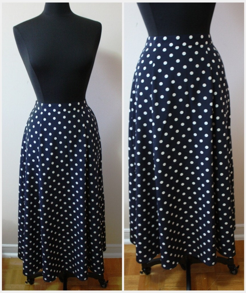 items similar to sale vintage navy blue and white polka