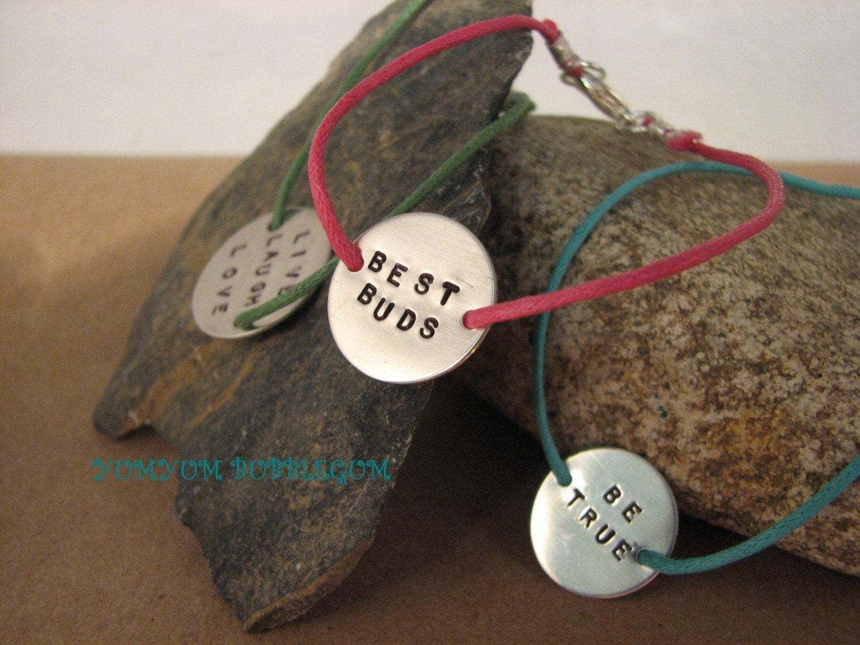 Handstamped Charm Cotton Cord Bracelets