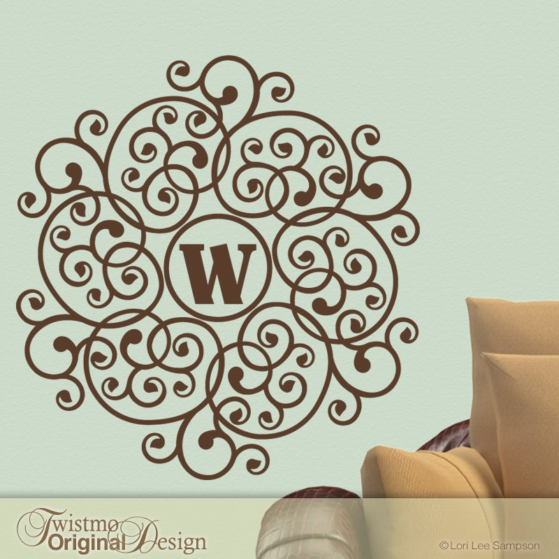 lacy mandala doily custom monogram vinyl wall decal by twistmo