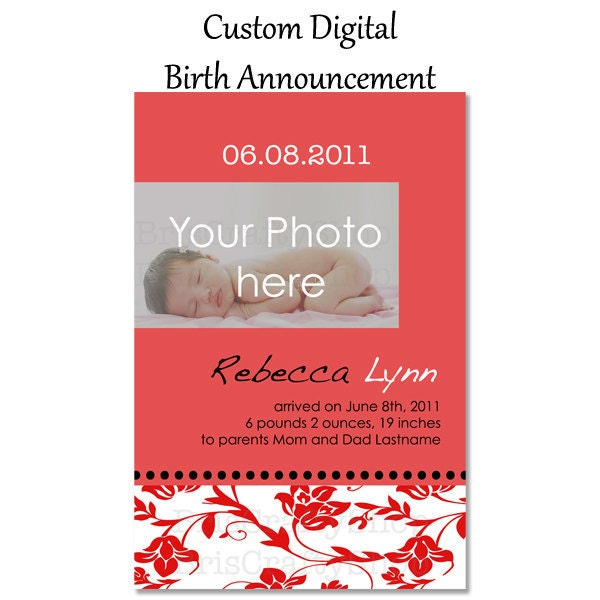 Custom Birth Announcement Digital for Baby