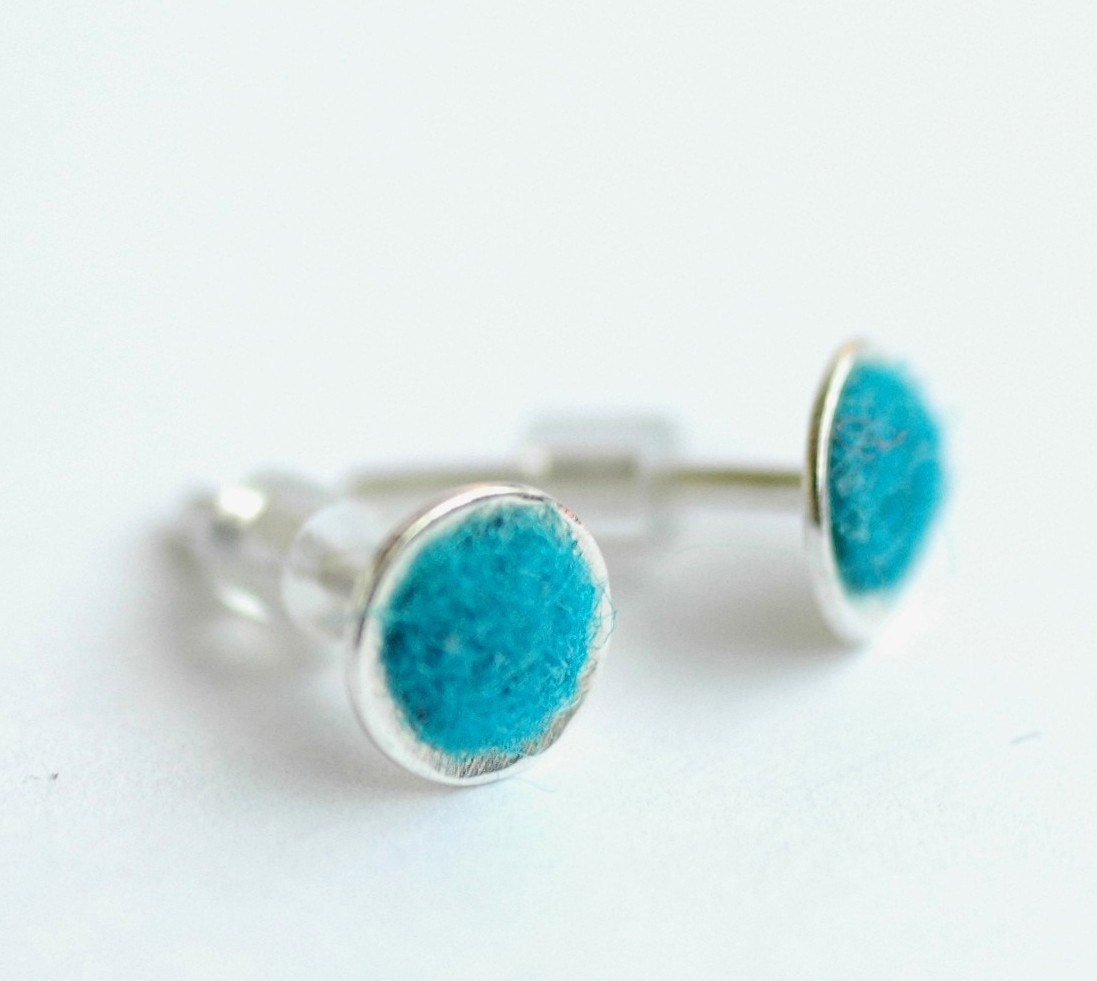 Small Felt Series Earrings in a Deep Turquoise- Made to Order