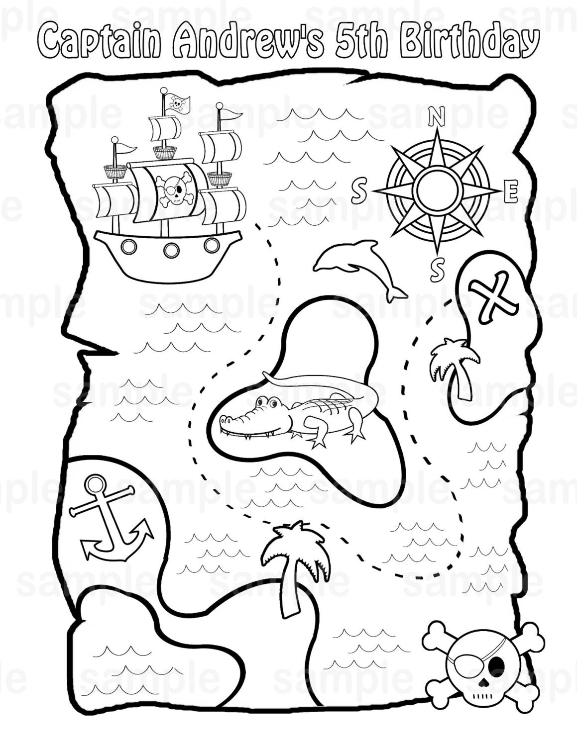 Personalized Printable Pirate Treasure Map Birthday Party ... X Marks The Spot Coloring Page