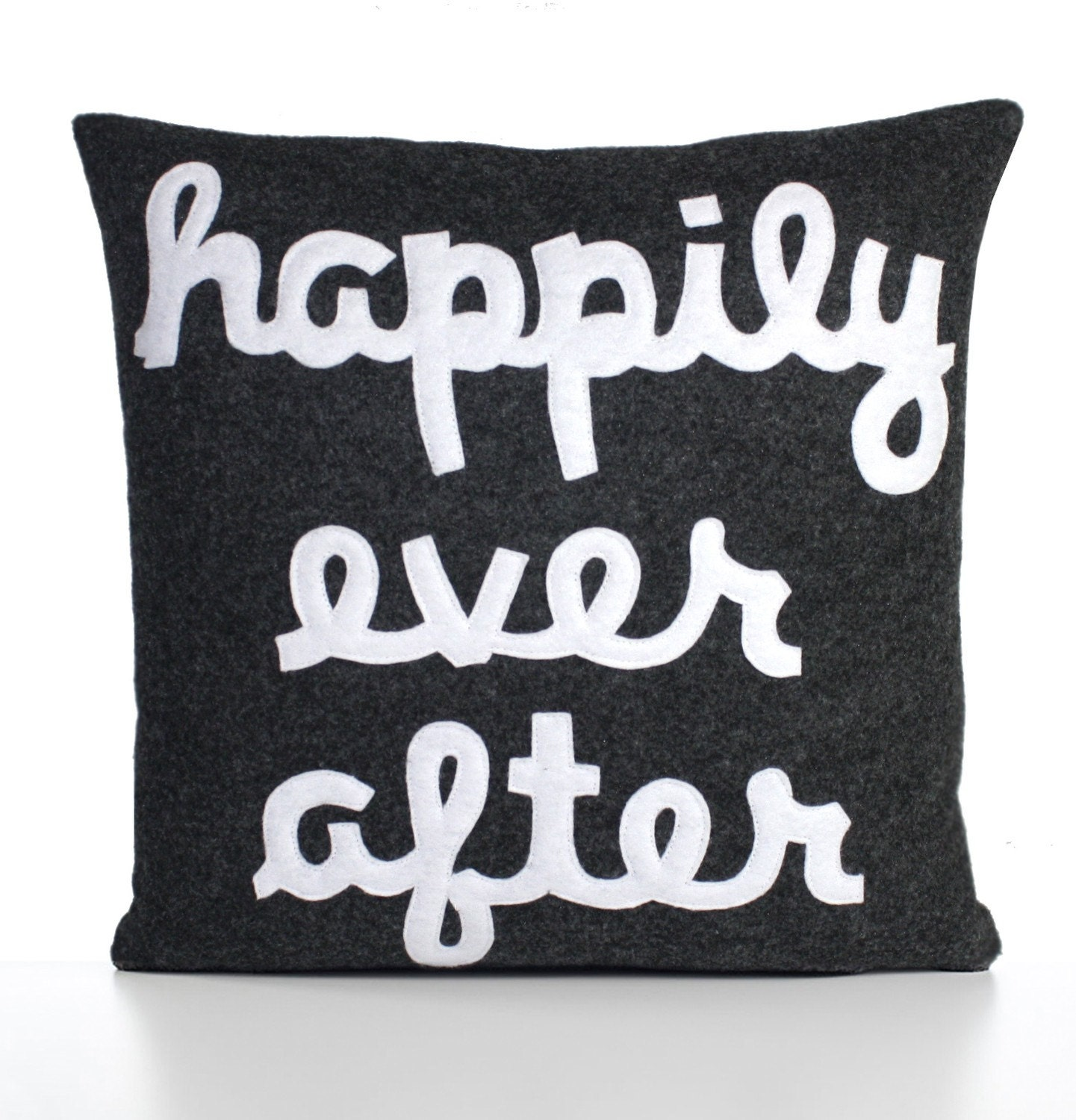 HAPPILY EVER AFTER - charcoal and white- 22 inch recycled felt applique pillow