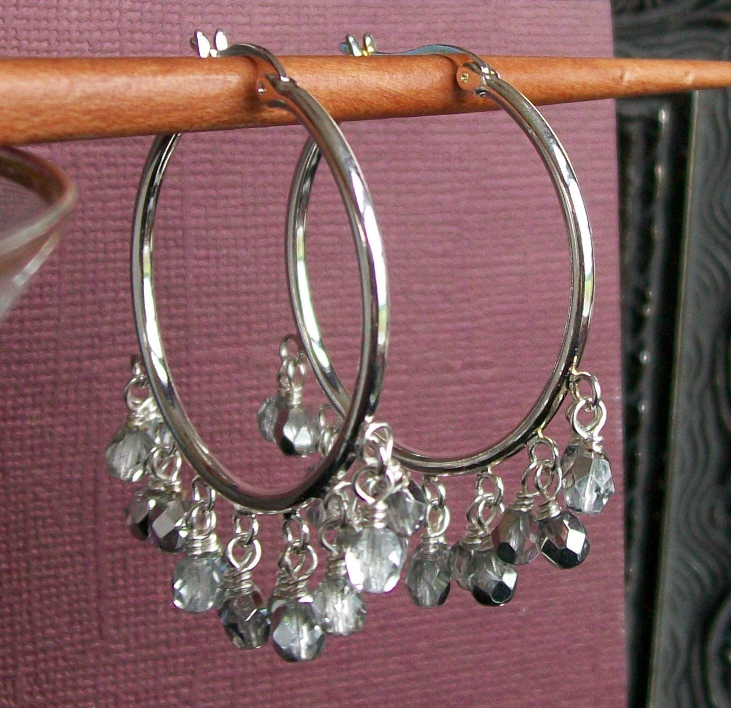 Crystal and Silver Cha Cha Hoop Earrings by shannonsroom on Etsy from etsy.com