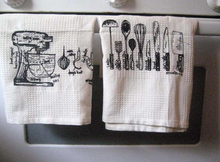 amazing kitchen utensils and mixer diagram towels - set of 2 - pick your color