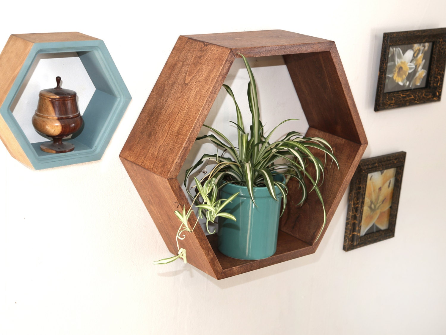 Mid century modern furniture large geometric floating Modern floating wall shelves