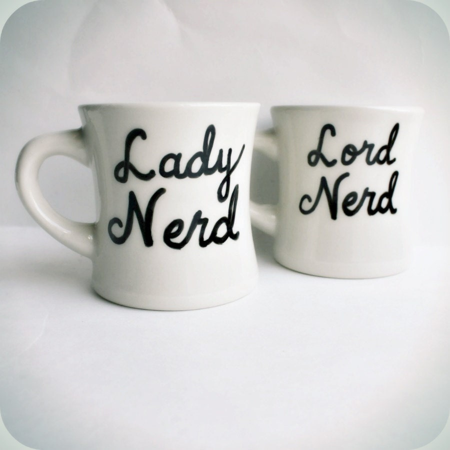 Wedding Gifts For Nerds : Nerd coffee mug tea cup set couple anniversary black white Wedding ...