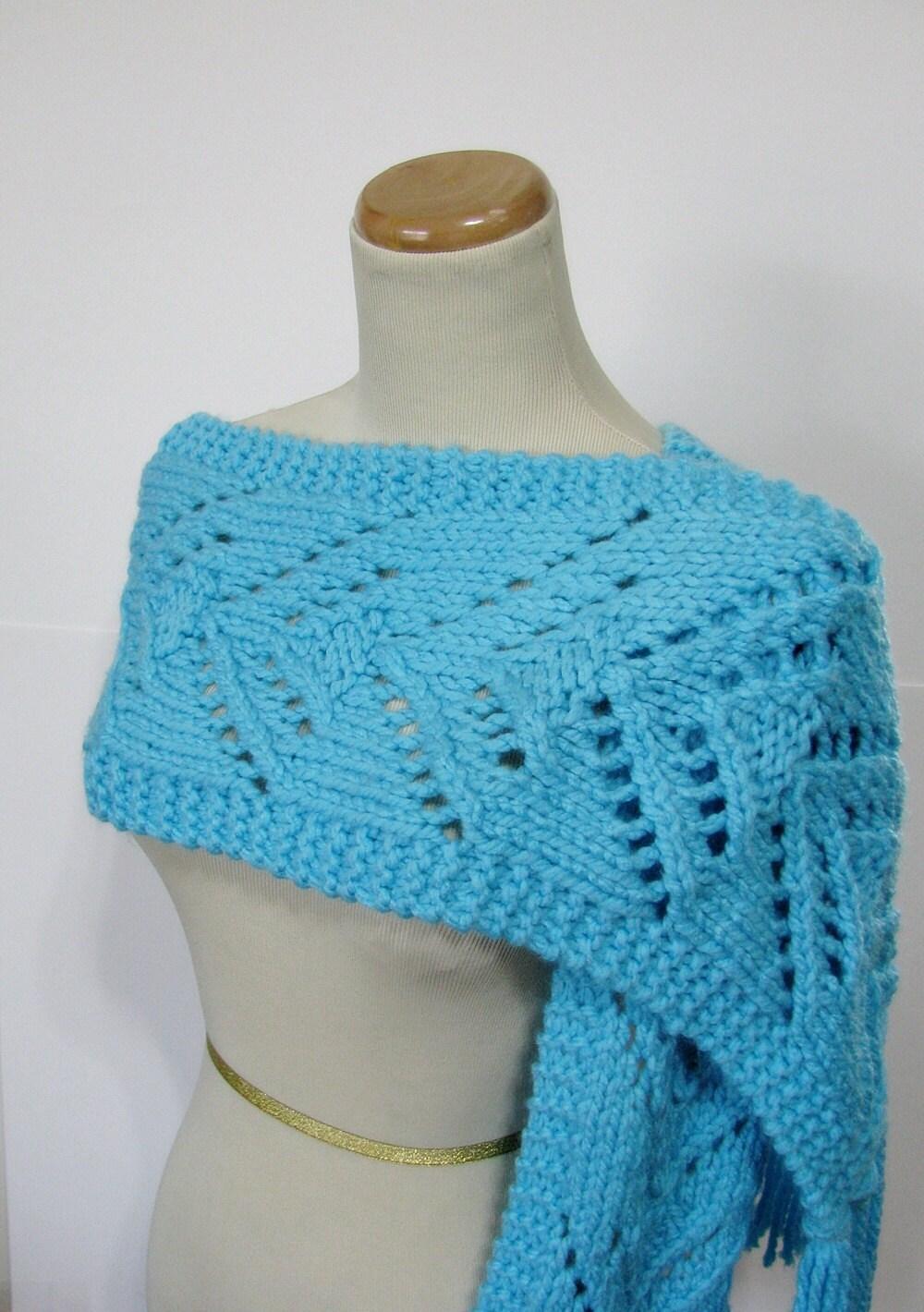 Bonnie Blue Lacy V Hand Knit Scarf