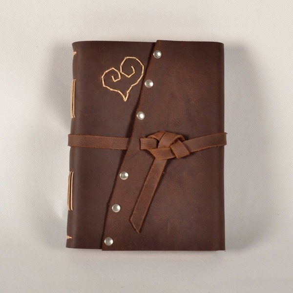 Leather journal, leather notebook, leather diary, unique, travel diary,vintage rustic cover, heart,guest sign book for wedding,gift - CLWorkshop