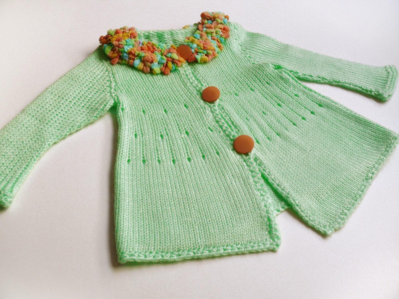 اپل ژاکت کش باف پشمی کودک سبز