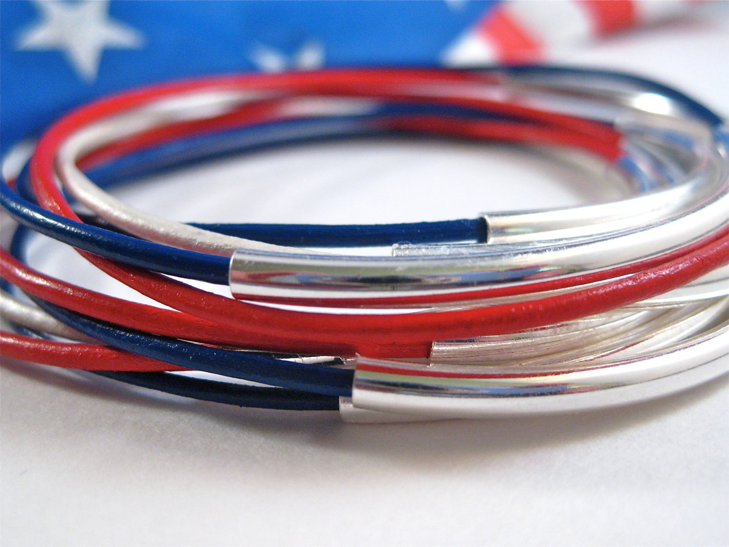 Leather Bangles Red White & Blue Set of 10