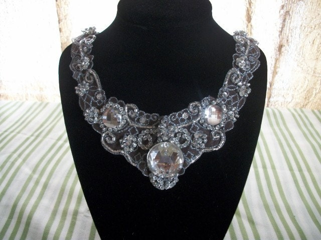 SALE - Dazzling Silver Crystal Bib/Statement Bridal or Special Occasion Necklace
