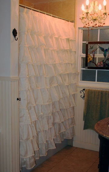 Ruffled Shower curtain Serene and Delicate by MaribelClaribel