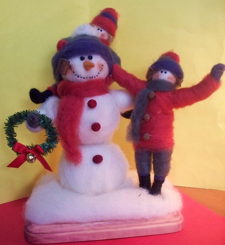 Let's Build A Snowman Wool Figurine