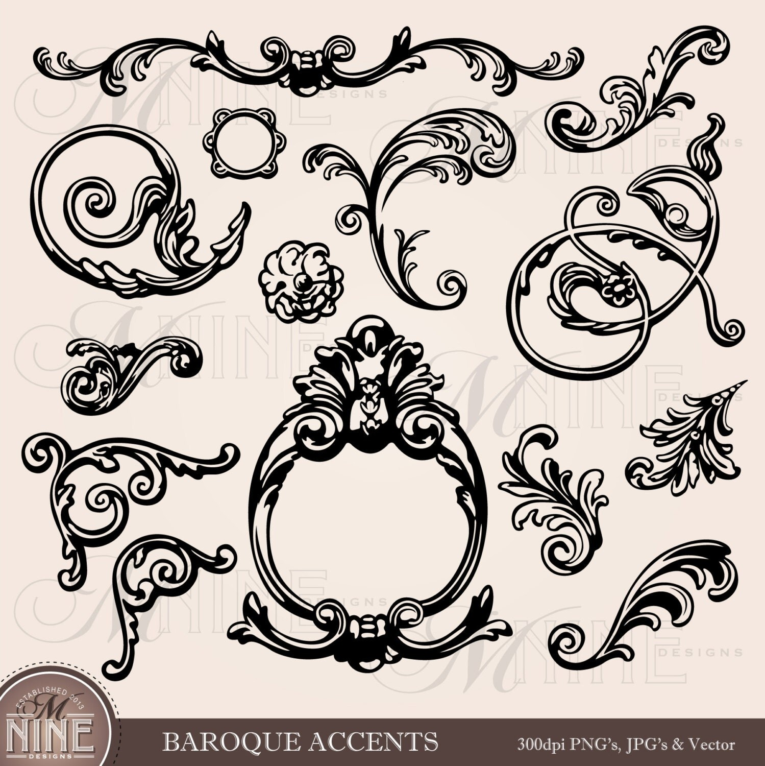 Baroque accents clipart illustrations instant by mninedesigns for Baroque architecture elements
