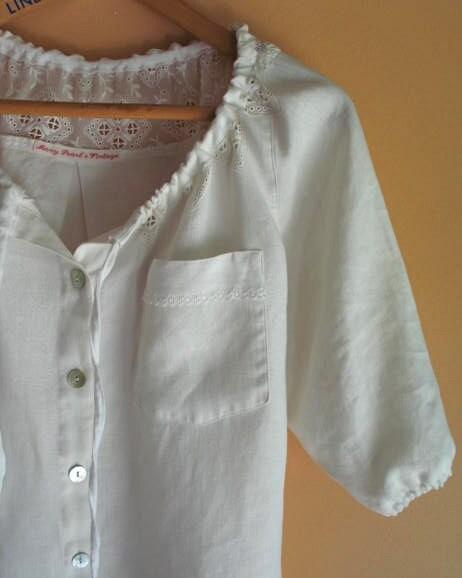 White Linen Peasant Blouse 29