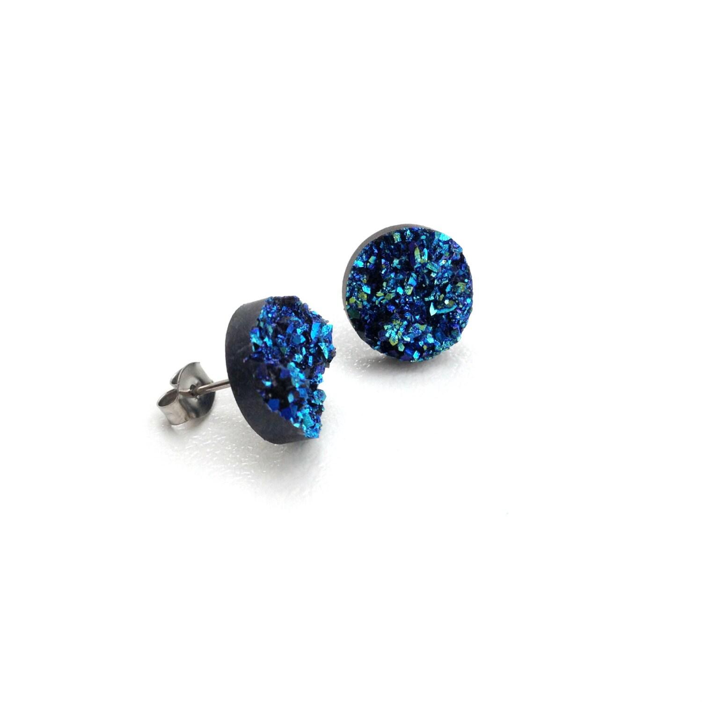 blue druzy sparkly gemstone earrings studs by corejewellery