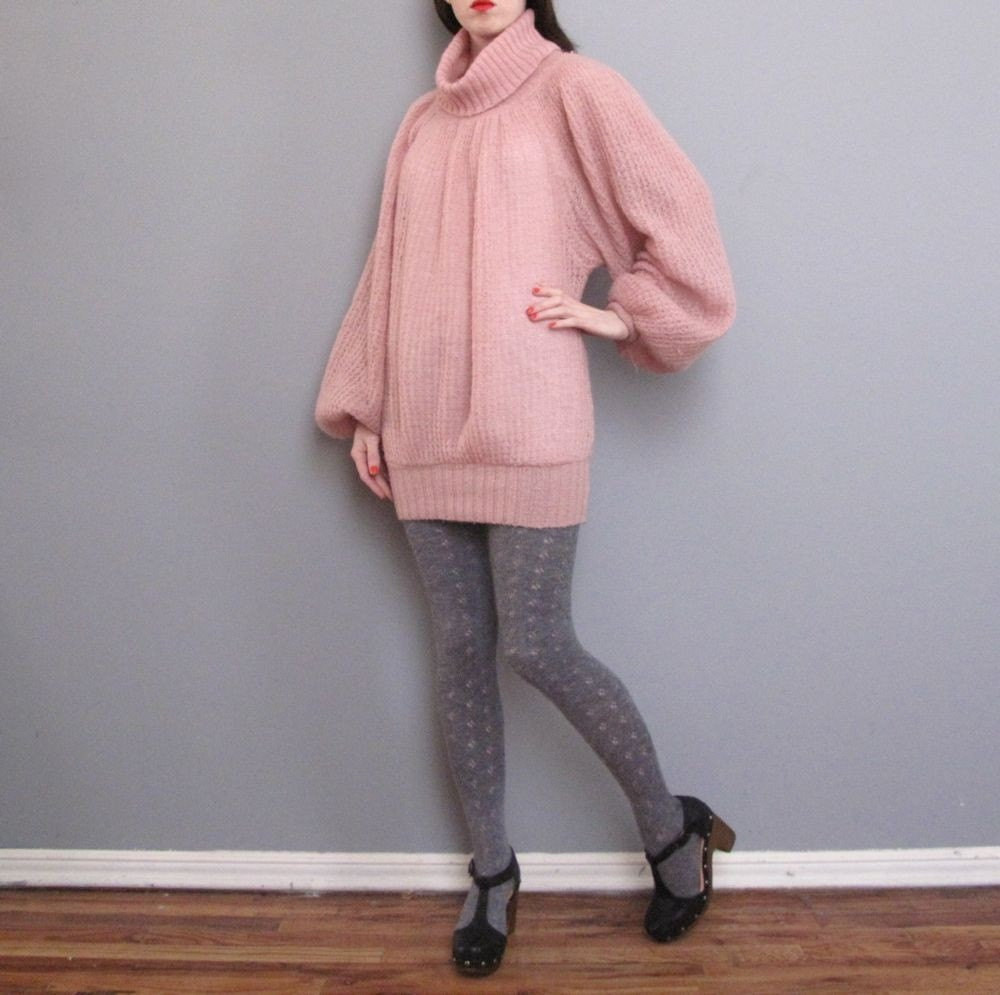 vintage 1980s ROSE pink mini sweater dress XS S