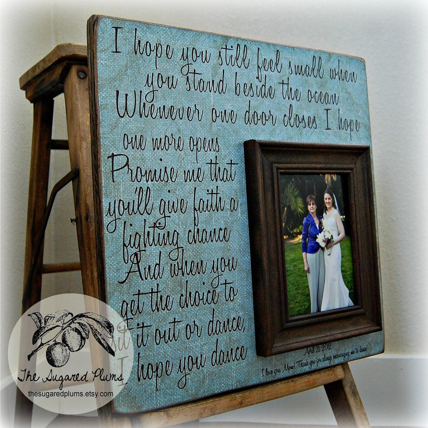 Late Wedding Gift Poem : Mother Of The Bride Gift Personalized Picture Frame Wedding Gift -I ...