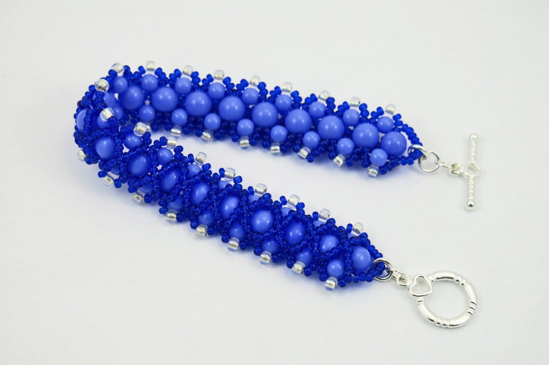 Blue Beadwork Cuff Bracelet Periwinkle Royal Blue Heart Toggle Clasp - TinksTreasure