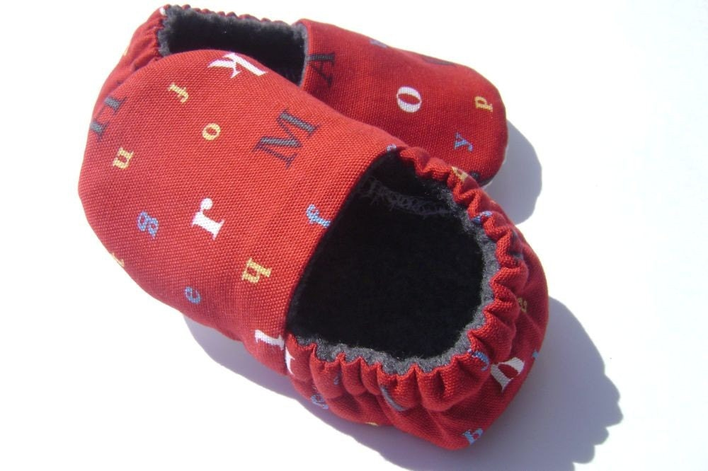 Now I Know My ABC'S - Soft Soled Baby Shoes - Slippers - 6-12 months