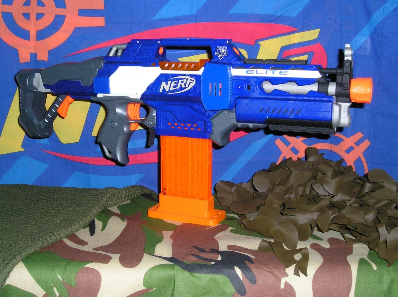 Super Modified Nerf Rapidstrike (Rhino motorsrewiredworker parts) 3s lipo.