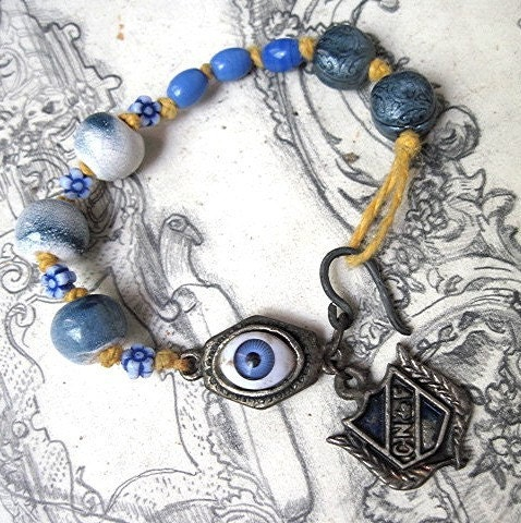 What is the Evil Eye. Ceramic, Glass and Antique Tag Bracelet