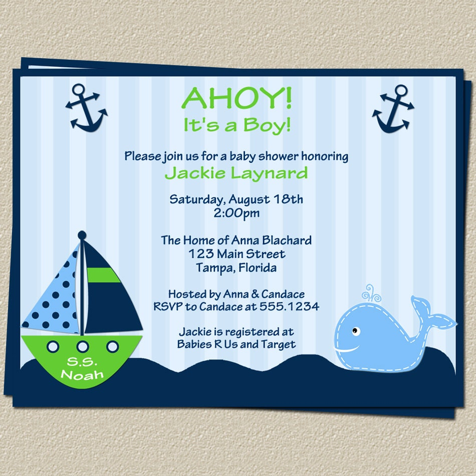 Nautical Baby Shower Invitations With Sailboat And Whale, Set Of 10 Invites And Cards, FREE Shipping