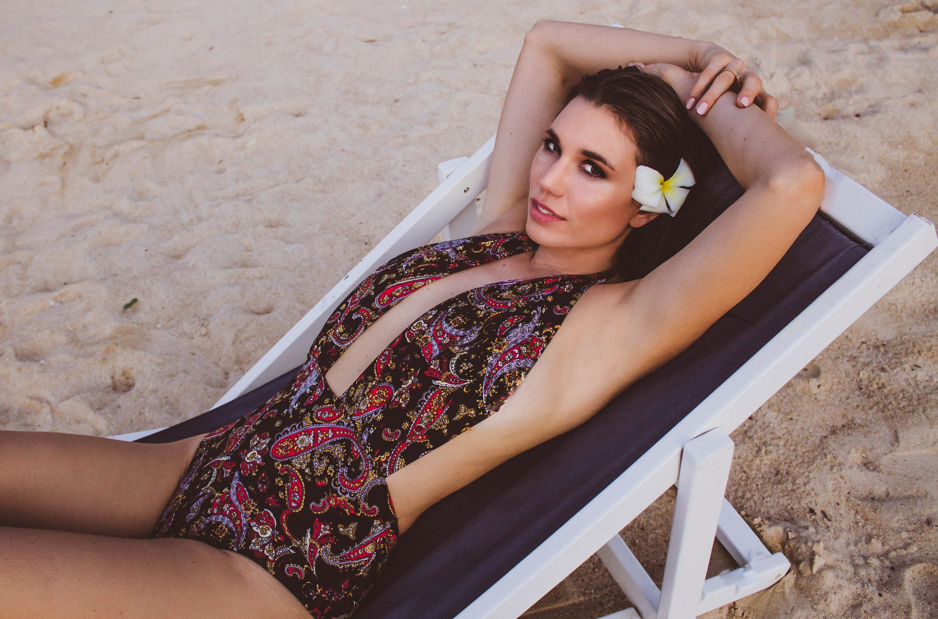 Swimsuit High Waisted Vintage Style One Piece Retro Pinup Maillot  Black and Red Paisley Floral Print Bathing Suit Swimwear  So Cute!