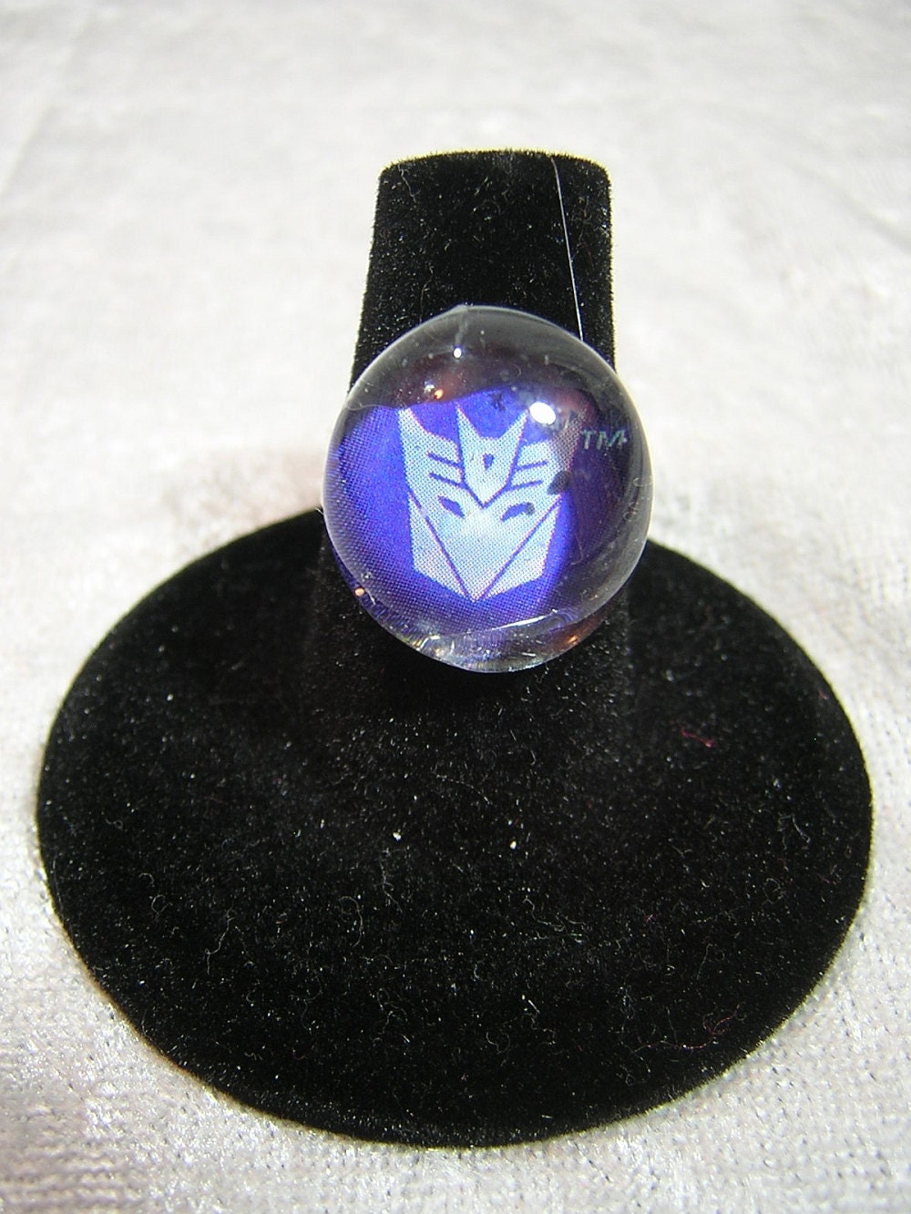 Decepticon Transformers Glass Pebble Ring with Adjustable Band - Handmade by Rewondered D225R-00007 - $5.95