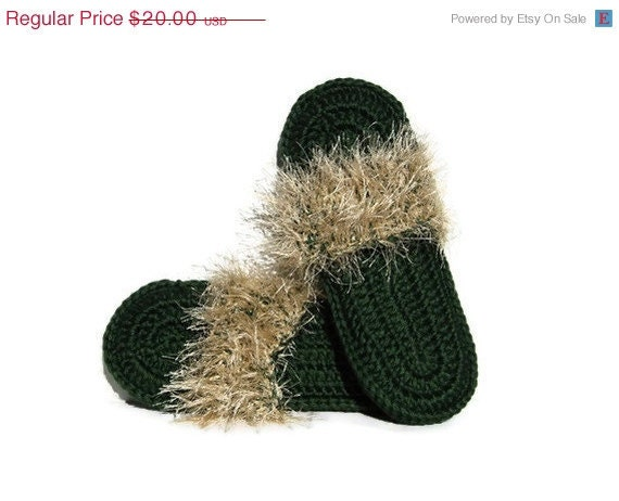 ON SALE Green Crocheted Slippers with Creme Fur - Flip Flop Footwear - Indoor Comfortable Shoes with Eyelash Yarn