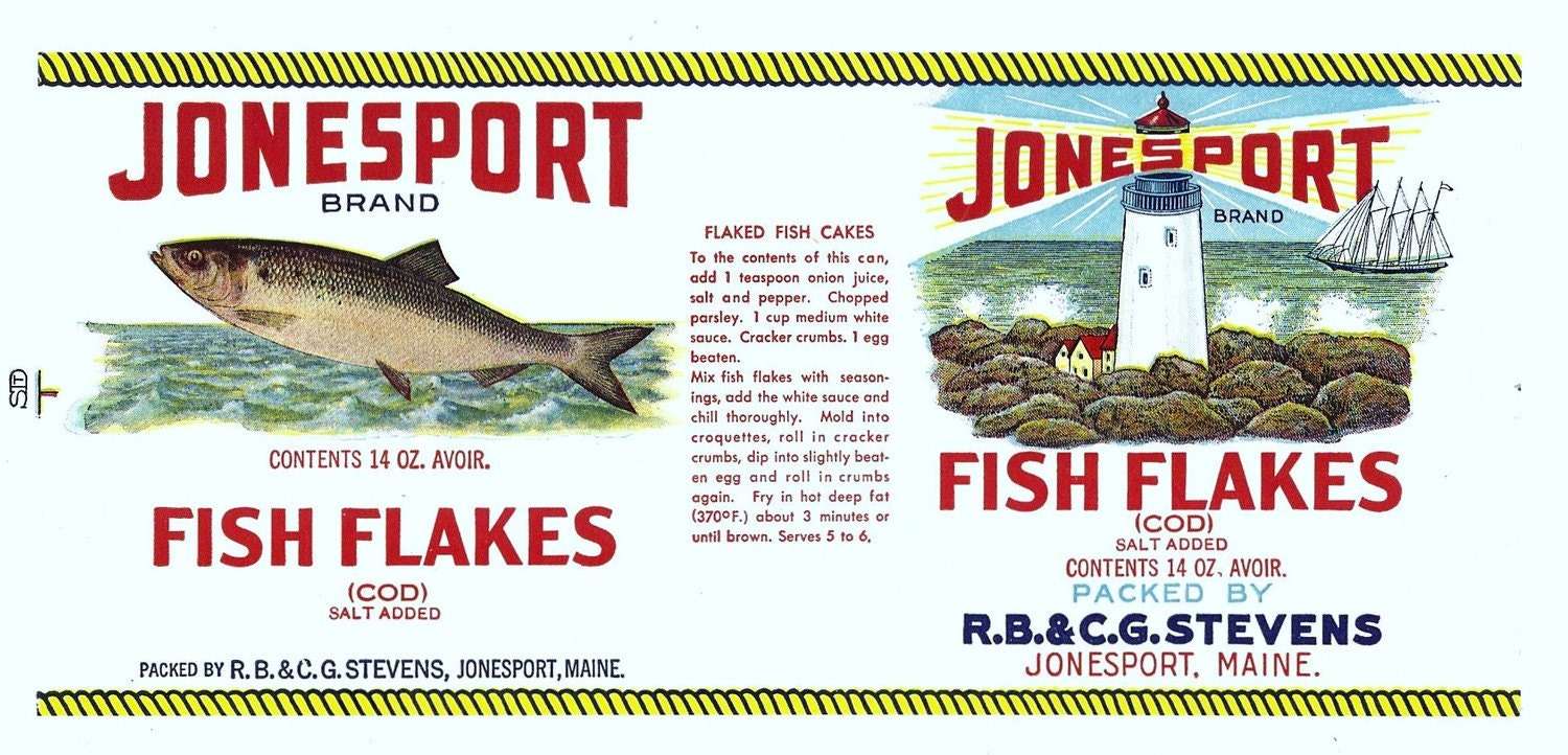 Items similar to cod fish flakes vintage label with fish for Old fashioned cod fish cakes