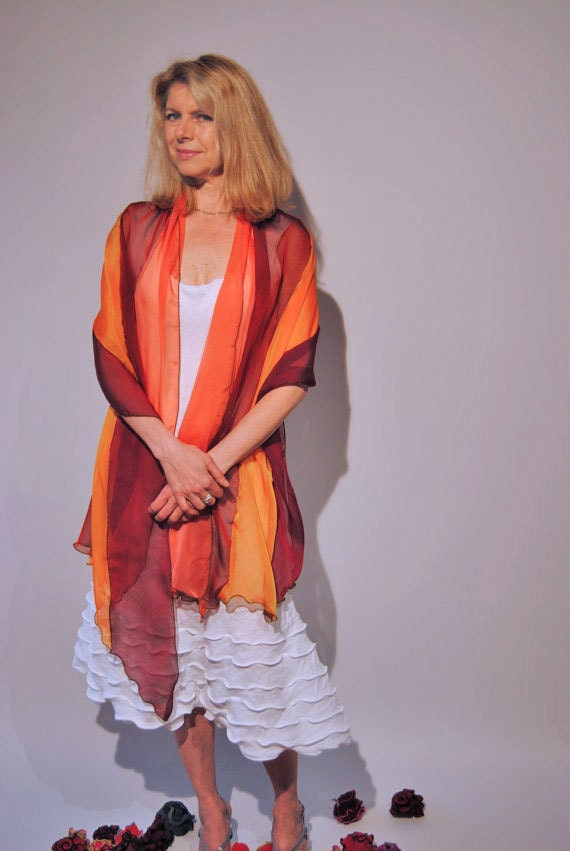 Flaming Silk Summer Scarf - LizaJaneNorman