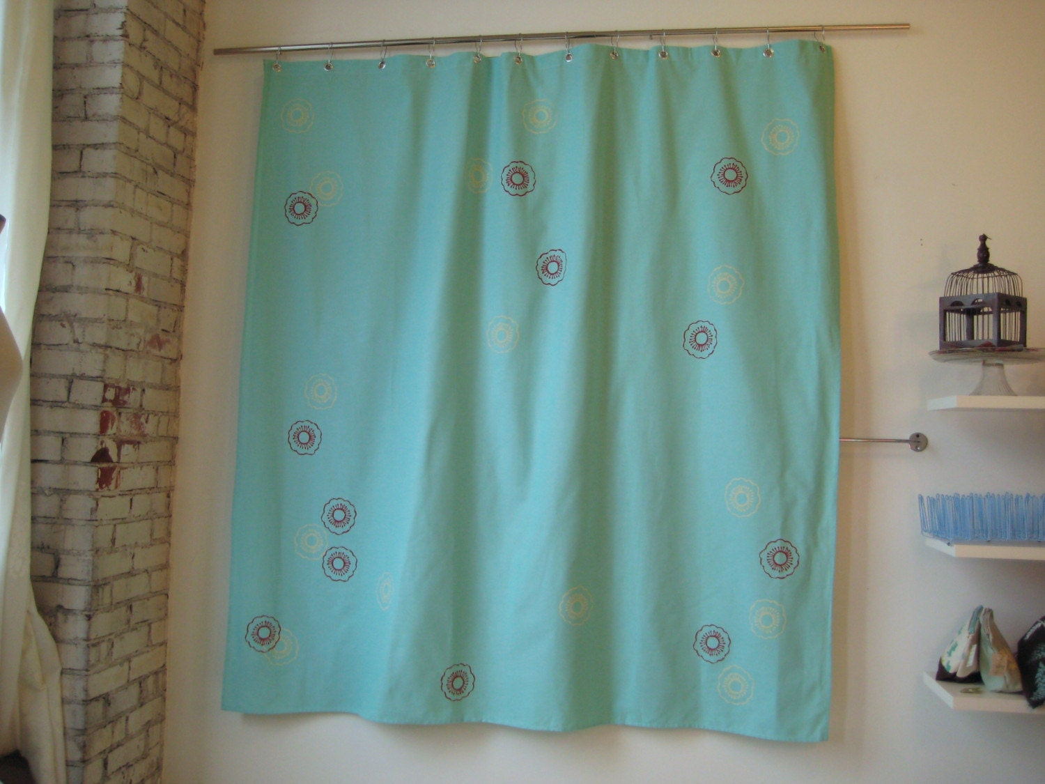 aqua sakura shower curtain by appetitehome on etsy