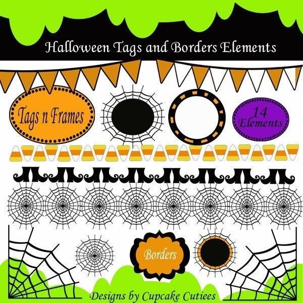 Clip Art Frames Borders. Halloween Frames Borders Clipart Digital Clip art for Cards, Paper, Invites,