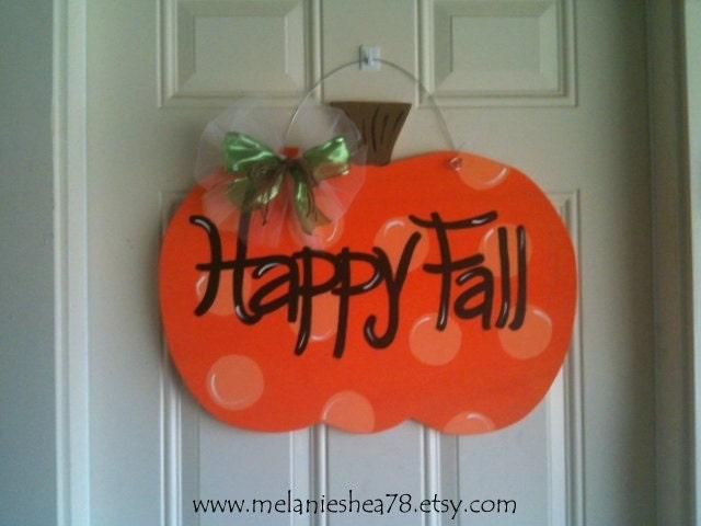 Wooden Door Hanger-Pumpkin - melanieshea78