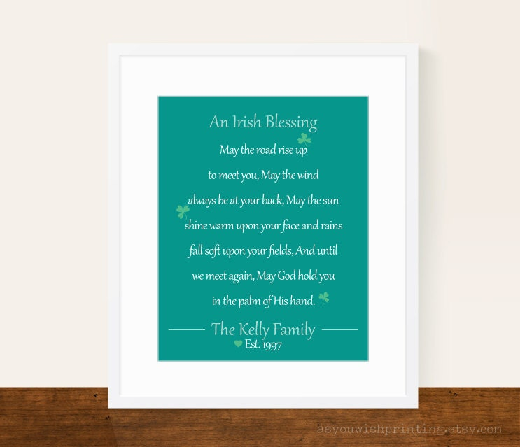 Irish blessing personalized 8x10 print st by asyouwishprinting - House warming blessing ...