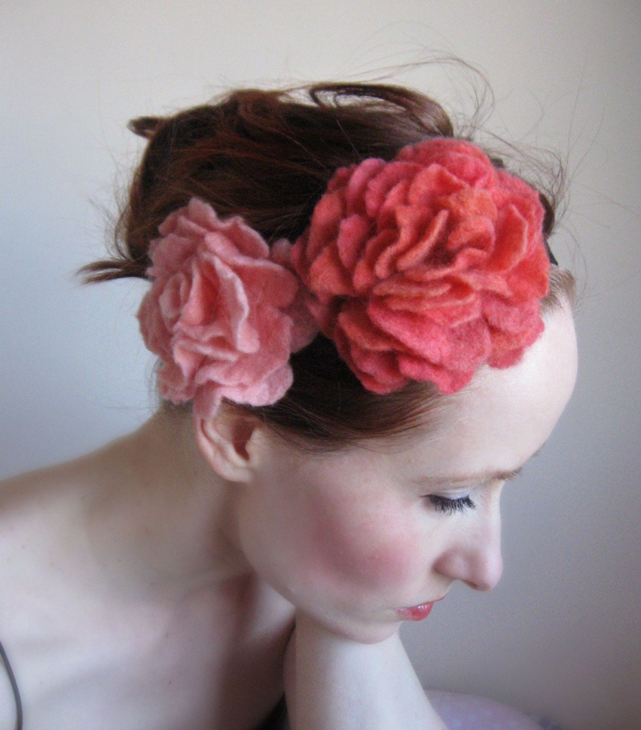 Afternoon delight-Peach and Pink Floral Headband-Hand Felted From Wool