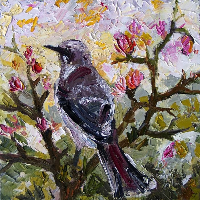 Impressionist Mocking Bird 12 by 12  Original Oil Painting Palette Knife by Ginette