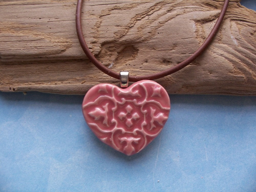Pink Heart Necklace Ceramic 1 1/4""