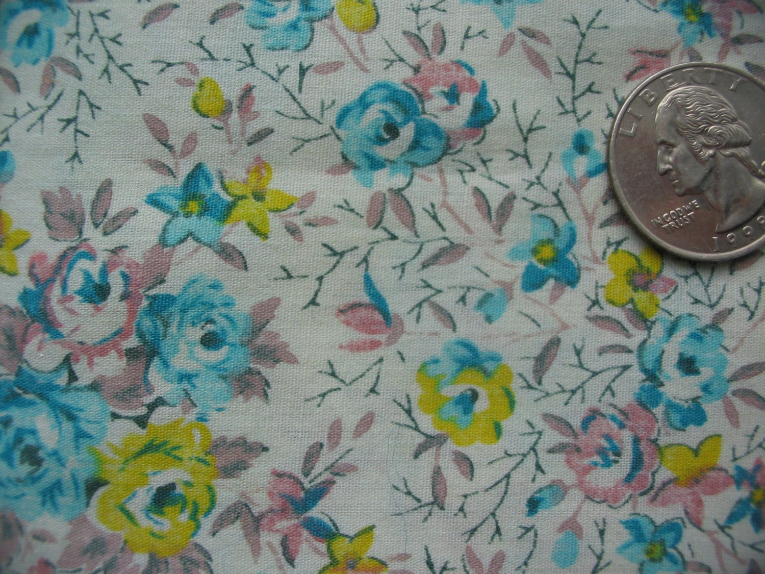 Vintage 1970s 1960s Calico Quilt Fabric Aqua Blue Pink and Yellow  Roses on Light Aqua 18 inches 45.7 Centimeters