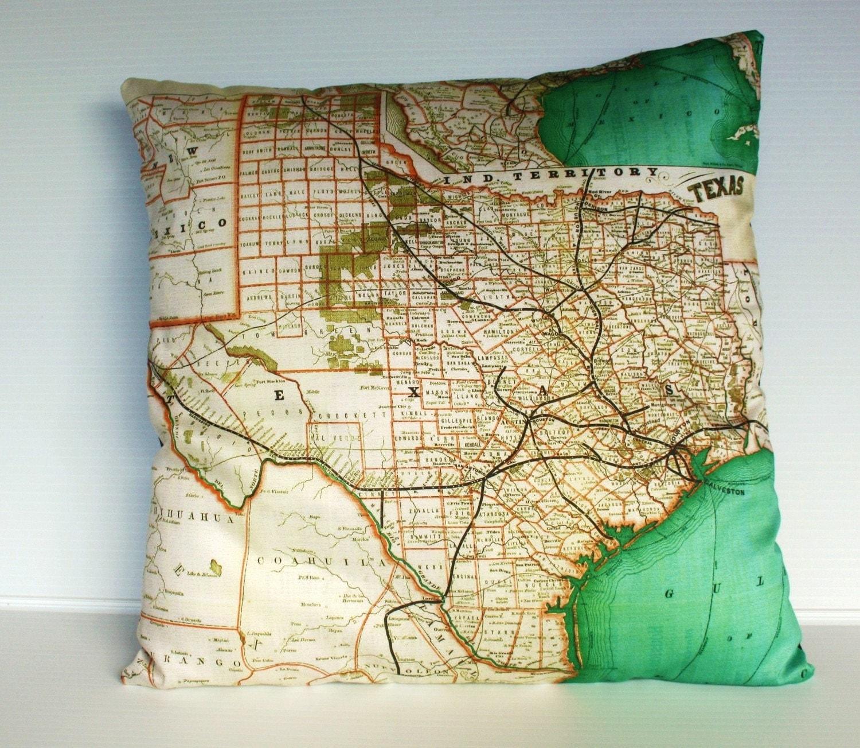 ТЕХАС, Органический хлопок карте покрытия подушки Техас, подушки покрытия, подушки, 16 дюйма, 41cms