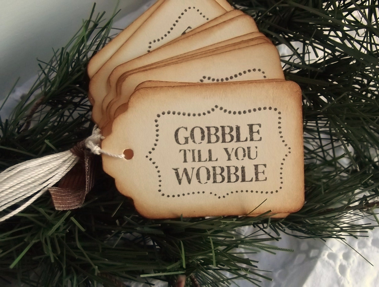 Gobble till you Wobble Tags - Thanksgiving Tags - SweetlyScrappedArt
