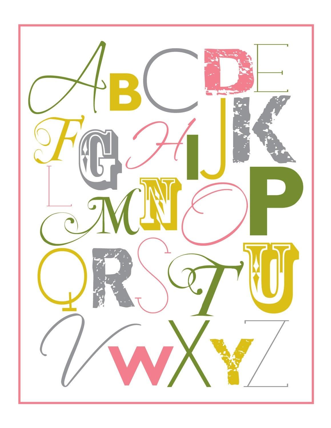 Mixed up alphabet print