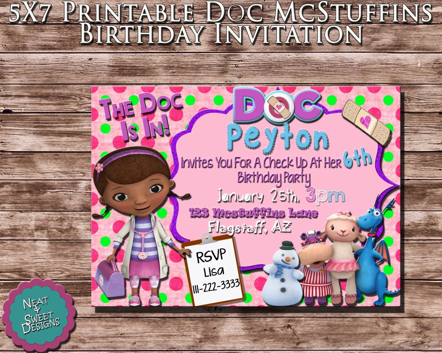 5 X 7 Printable Doc McStuffins Birthday Invitation - Disney Doc Mcstuffins Invite - Girl Doctor Invitation - Doc Mcstuffins Party