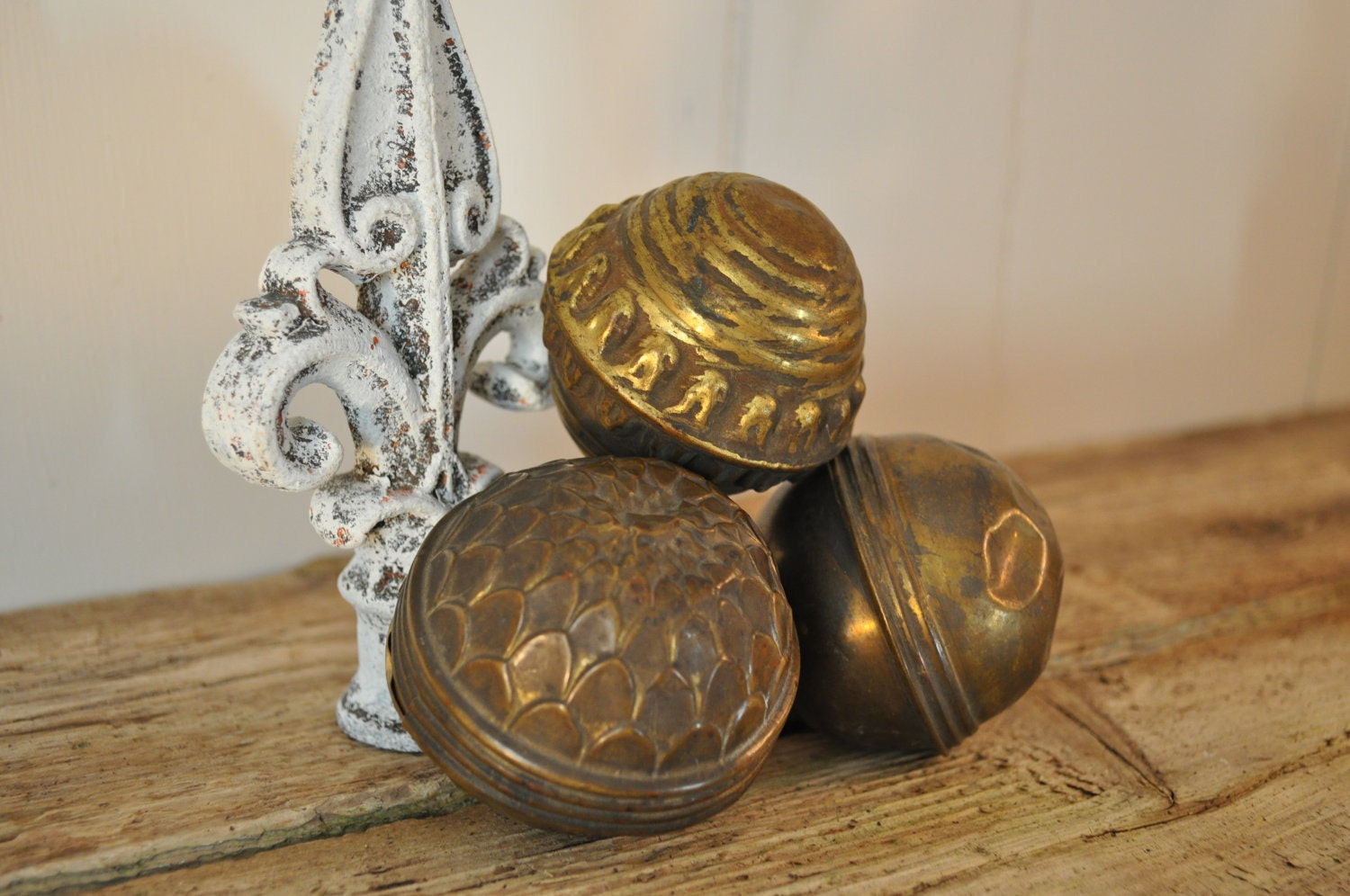Victorian Vintage Stamped Decorative Brass Ball Finials - OldHousePartsCo